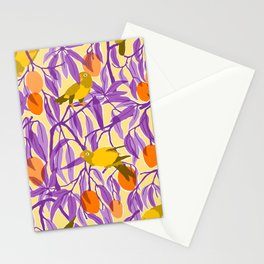 Yellow Parrots and Mangoes Stationery Cards