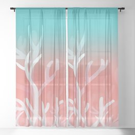Living coral & Viridian green Sheer Curtain