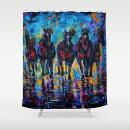 Horses Roaming Free Painting Shower Curtain