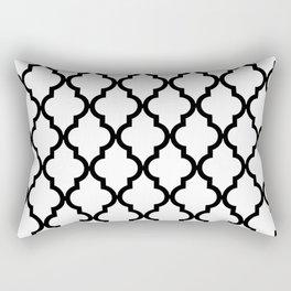 Moroccan Quatrefoil Pattern: Black & White Rectangular Pillow