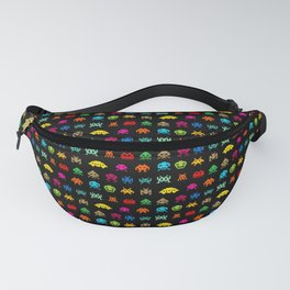 Invaders of Space retro arcade video game pattern design Fanny Pack