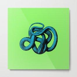 Snek 1 Snake Teal Turquoise Lime Green Metal Print