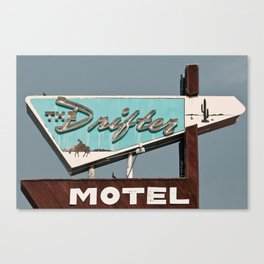 Vintage Neon Sign - The Drifter - Silver City Canvas Print