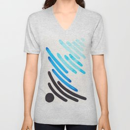 Cerulean Blue Watercolor Colorful Stripes Mid Century Modern Art Primitive Abstract Art Unisex V-Neck