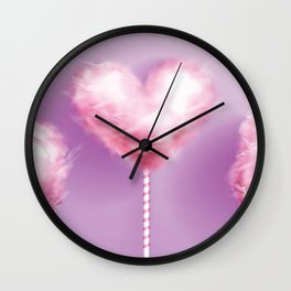 Pink Cotton Candy on Lavender  Wall Clock