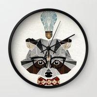 nerd Wall Clocks featuring raccoon nerd by Manoou