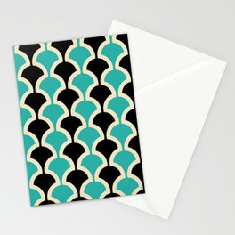 Classic Fan or Scallop Pattern 442 Black and Turquoise Stationery Cards