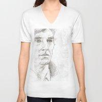 sherlock V-neck T-shirts featuring Sherlock by Amanda Powzukiewicz