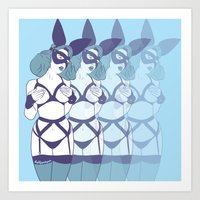 bunnies Art Prints featuring Bunnies by Doktorsour