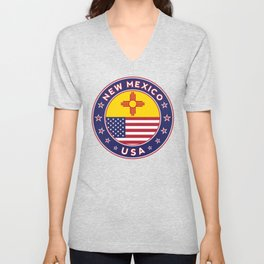 New Mexico, USA States, New Mexico t-shirt, New Mexico sticker, circle Unisex V-Neck