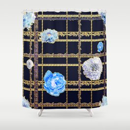 Beautiful Gold and Blue Floral Feminist Killjoy Tartan Shower Curtain