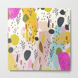 Pink And Yellow Abstract Art Trendy Modern Pattern Metal Print