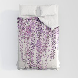 purple wisteria in bloom Comforters