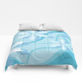 Winter Blue Flower Christmas Comforters