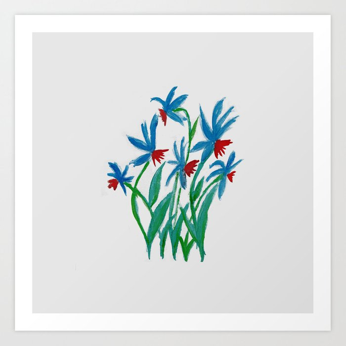 Hand painted watercolor floral blue and red flowers Art Print