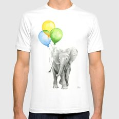 Elephant Watercolor Baby Animal with Balloons - Blue Yellow Green MEDIUM Mens Fitted Tee White
