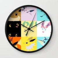 eevee Wall Clocks featuring Eevee evolutions square- Eeeveelutions PKMN by Rebekhaart