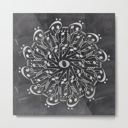 Musical mandala on chalkboard Metal Print