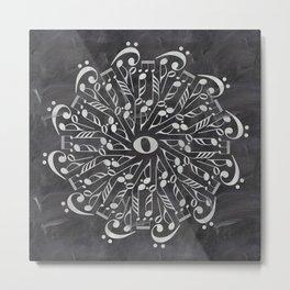 Musical mandala on chalkboard Metal Print