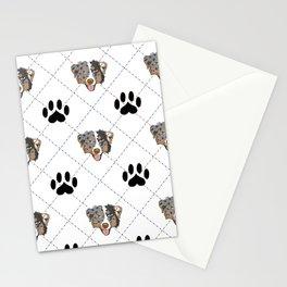 Australian Shepherd Paw Print Pattern Stationery Cards