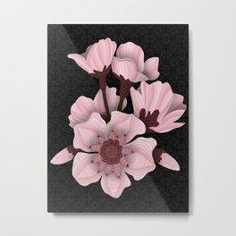Cherry Blossom (black) Metal Print