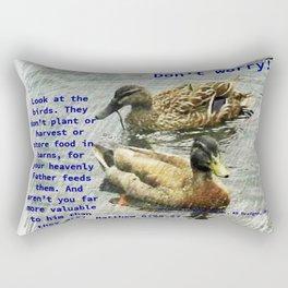 Don't worry, God cares for the birds, bible verses Rectangular Pillow