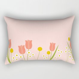 Pale Pink Light Orange Spring Flowers Rectangular Pillow