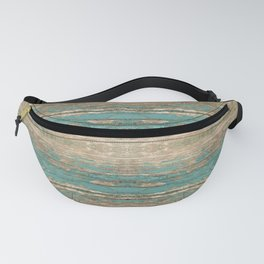 Rustic Wood - Beautiful Weathered Wooden Plank - knotty wood weathered turquoise paint Fanny Pack