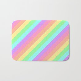 Pastel Rainbow Diagonal Stripes Bath Mat