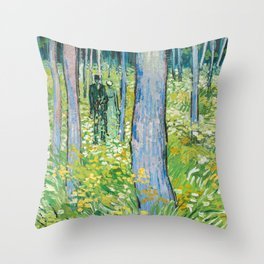 Undergrowth with Two Figures by Vincent van Gogh Throw Pillow