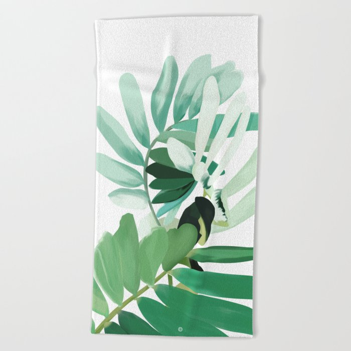 green plant leaves Beach Towel