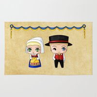 swedish Area & Throw Rugs featuring Swedish Chibis by artwaste