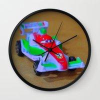 car Wall Clocks featuring car by aticnomar