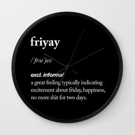 Friyay black and white contemporary minimalism typography design home wall decor bedroom Wall Clock