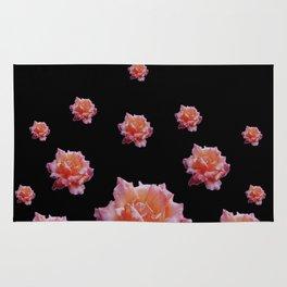 ROMANTIC ANTIQUE PINK ROSES ON BLACK Rug