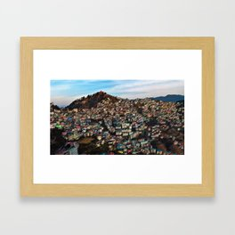 Colored Houses of Shimla, India with Blue Sky Landscape by Jeanpaul Ferro Framed Art Print