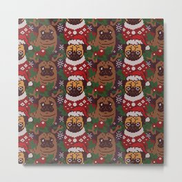 Christmas Party With The Pug Metal Print