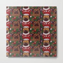 Christmas Party With The Pug Metal Print