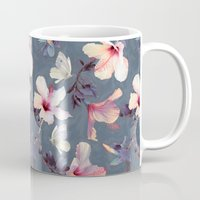 purple Mugs featuring Butterflies and Hibiscus Flowers - a painted pattern by micklyn