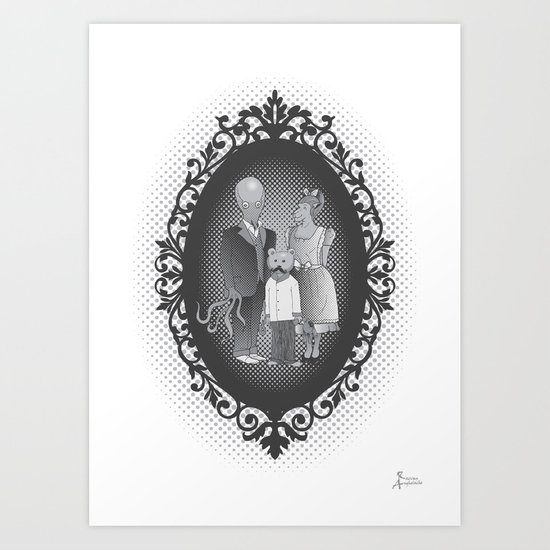 Framed family portrait Art Print