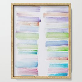 23  | 181101 Watercolour Palette Abstract Art | Lines | Stripes | Serving Tray