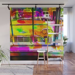 yellow classic taxi car with colorful painting abstract in pink orange green Wall Mural