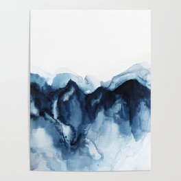 Abstract Indigo Mountains Poster