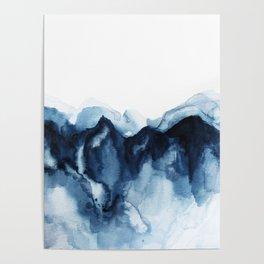 Abstract Indigo Mountains Poster