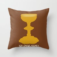 indiana jones Throw Pillows featuring Indiana Jones - You Choose Poorly by Swell Dame