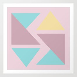 Origami triangle art pastel palette Art Print
