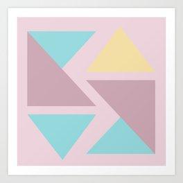Origami triangle art pastel palette Art Print