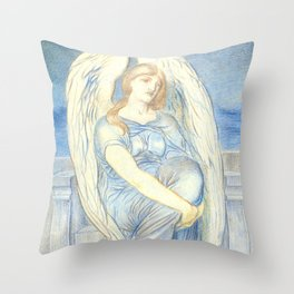 "Simeon Solomon ""Seated Angel"" Throw Pillow"