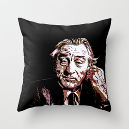 Portrait pop art Robert de Niro Throw Pillow