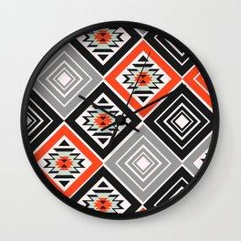 Aztec geometry with diamonds Wall Clock